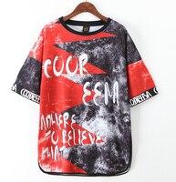 Mujeres harajuku crop top mujeres camiseta de moda del estilo impreso negro + rojo camiseta