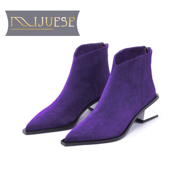 MLJUESE 2019 women ankle boots Kid suede slip on purple color pointed toe high heels winter short plush women martin boots steve j