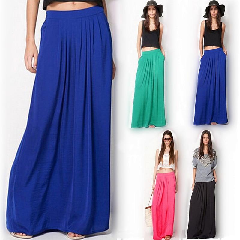 923ca59eb Falda larga Vintage de verano para mujer saia cintura elástica elegante  delgada Falda plisada Mujer ...