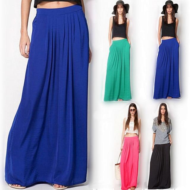 77e943370 € 7.22 33% de DESCUENTO|Falda larga Vintage de verano para mujer saia  cintura elástica elegante delgada Falda plisada Mujer Casual playa sólida  ...