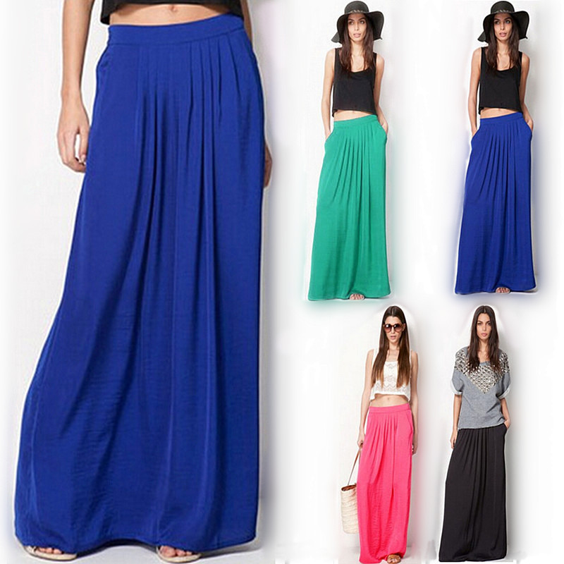Summer Vintage Long Skirt Wanita saia Elastic Waist Elegant Nipis Pleated Skirt Ladies Casual Beach Pepejal Maxi Skirts faldas