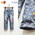 2-7a Floral meninas de Jeans macio crianças bebê roupas de Jeans crianças calças Jeans para criança calças