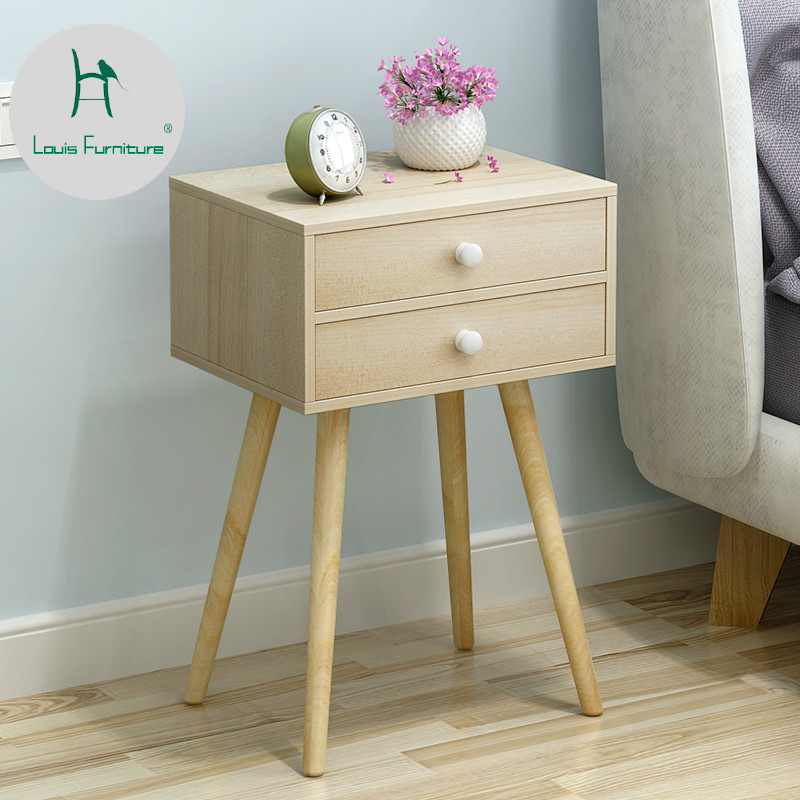 Louis Fashion Nightstands Simple Modern Living Wood Mini Mini Collection Nordic Modern Bedroom