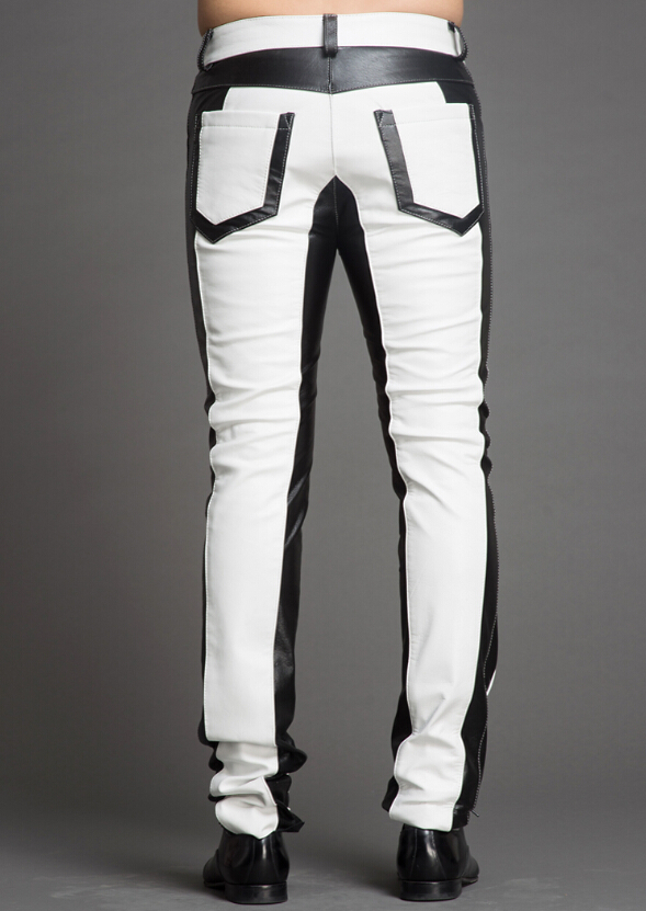 Leather Pants Men Dj Fashion Contrast Color  Leather Pants 1