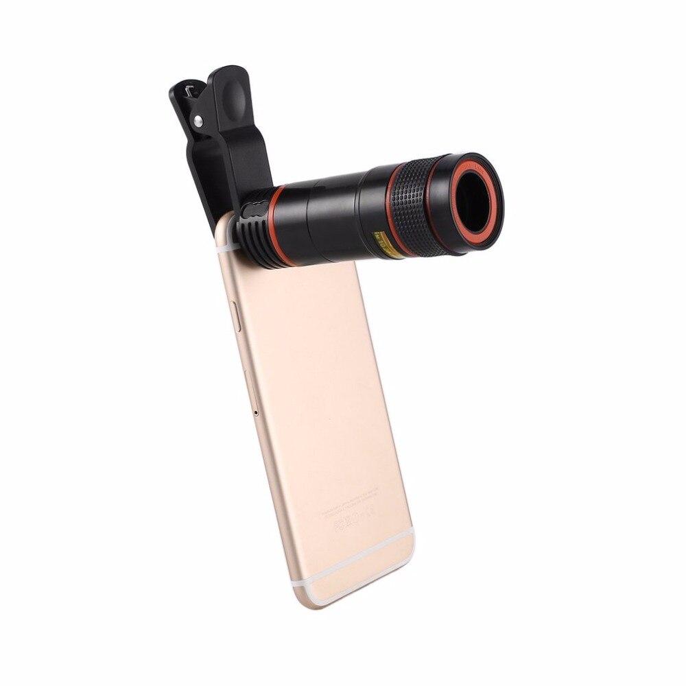 Universal 12X Téléphone Mobile Télescope HD Externe Téléobjectif Lentille Remplacement Téléobjectif Zoom Optique Téléphone portable Camera Lens Kit