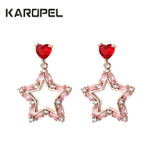 цена на Red Heart Shape Zirconia Earrings Multicolor CZ Zircon Pentagram Stud Earrings Statement Women Fashion Jewelry