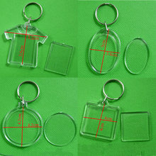 DIY Key Chains Handmade Gifts Acrylic Insert Photo Picture Frame Keyrings Keychain Split Ring Key Chains Square Heart billboard(China)
