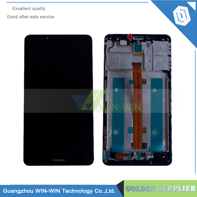 10pcs/lot +Frame white LCD Display + Touch Screen Digitizer Assembly Replacement For Huawei Ascend Mate 7 Free Shipping 6 lcd display screen touch glass digitizer assembly for huawei ascend mate 8 mate8 white gold free shipping