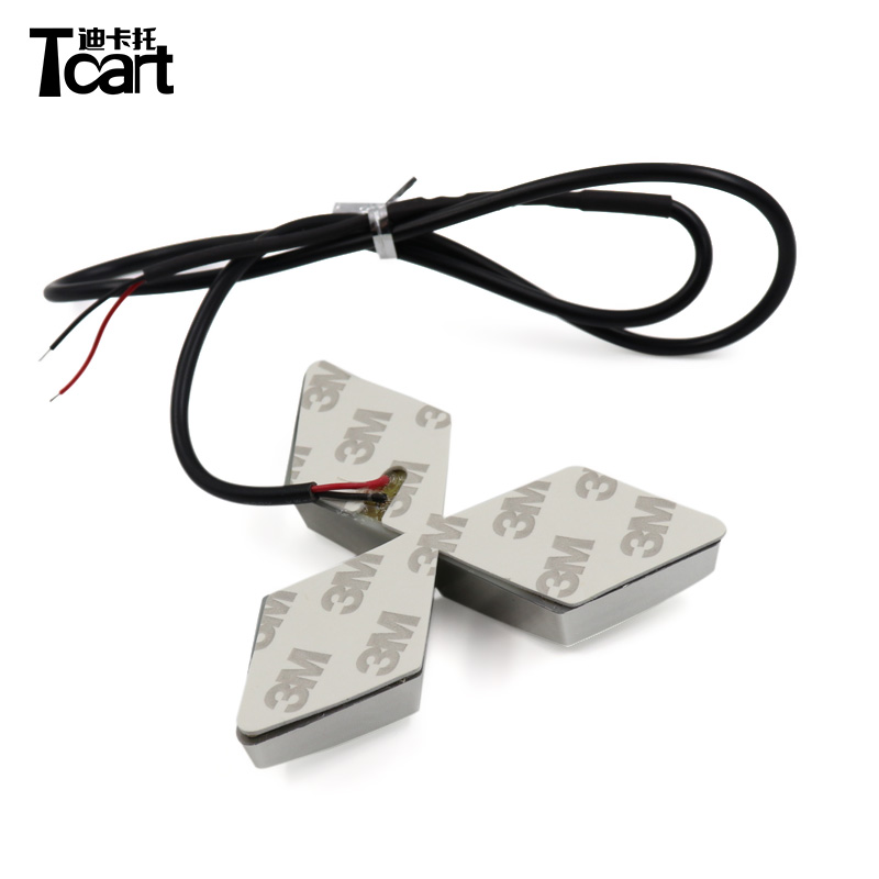 Tcart 7.6x8.7cm 1set for mitsubishi asx accessories 2018 2019 4D Car Front Badge Led Light Auto Logo Lights Car Emblem Sticker image