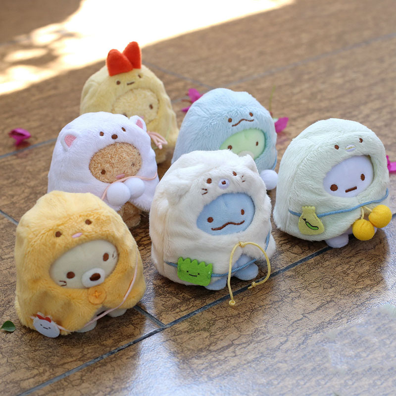 6pcs San-X Sumikkogurashi Stuffed Animals Plush Keychains Toy Sumikko Plush Wear Mantle Cartoon Pendant Dolls Girls Gift 8cm