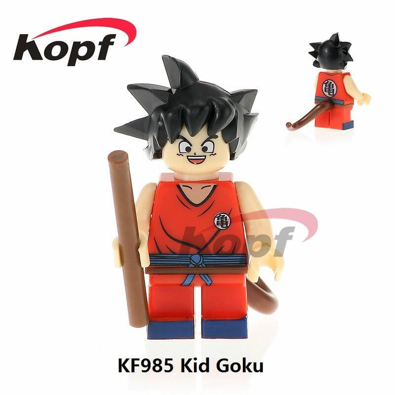 все цены на Single Sale Super Heroes Dragon Ball Z Figures Black Kid Goku SSJ3 Perfect Cell Bricks Building Blocks Children Gift Toys KF985 в интернете
