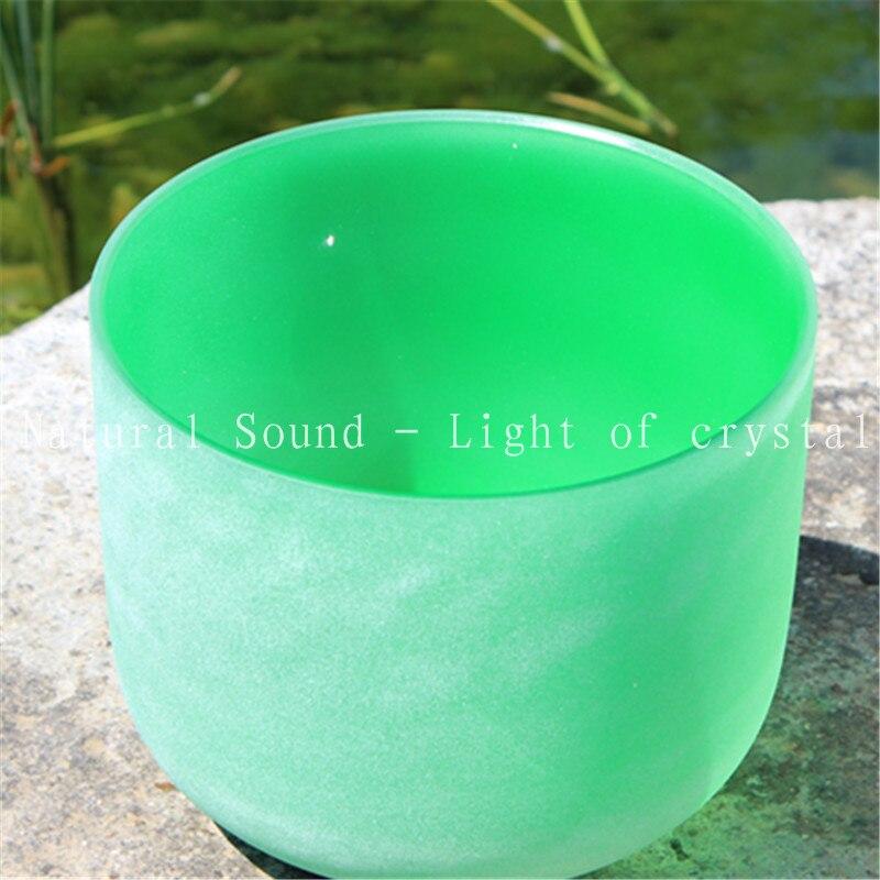완벽한 피치 10 파란색 또는 녹색 컬러 크리스탈 노래 그릇 또는 F 차크라 또는 G 차크라 디자인