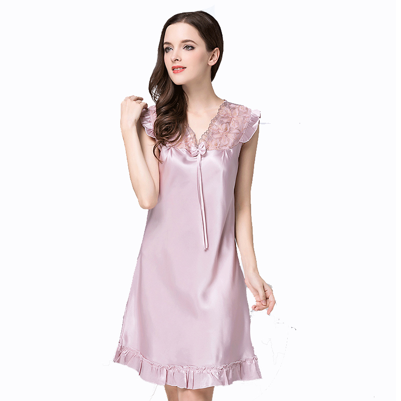 2018 Summer New Rayon   Nightgown   Women Sexy Lounge Nightdress Sleepwear Sleevlesse Casual Nightwear Lace   Sleepshirts   Shirt