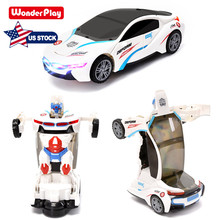 Ship From USA Wonderplay Robot Car Kids Toys Deformation Race Car Transformation Robots Toy with Light Music Gifts For Boys rc car transformation robots sports vehicle model robots toys cool deformation car kids toys gifts for boys