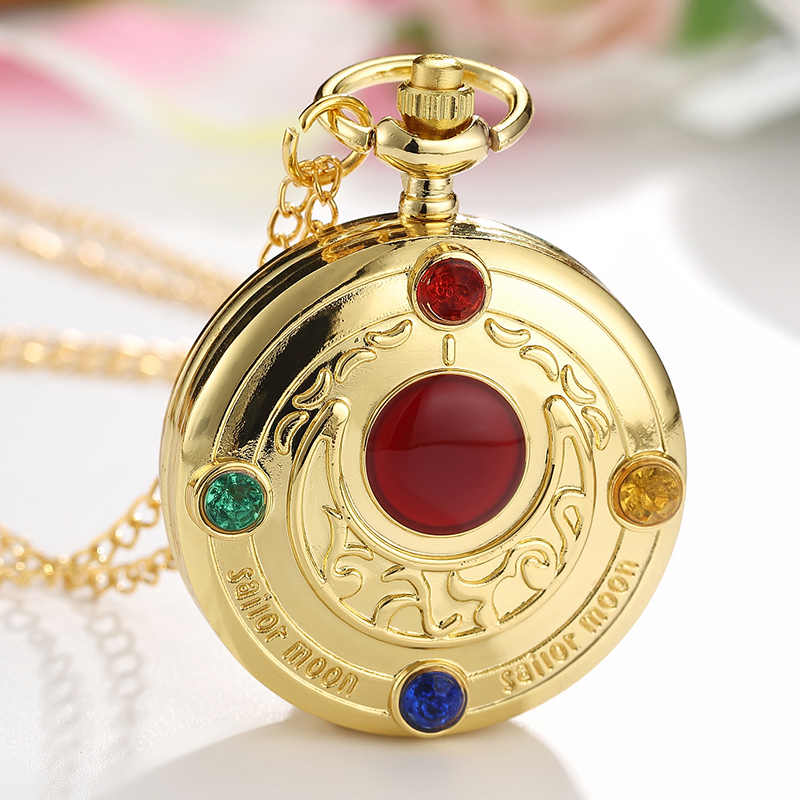 Vintage Japan Anime Sailor Moon Pocket Watch Pendant With Diamond Gold Fob Quartz Clock Chain Necklace Cute Gift For Women Girls