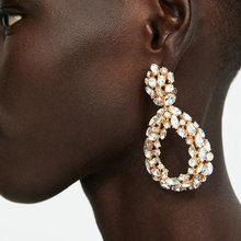 Big Rhinestone Water Drop Earrings for Women Fashion ZA Style Big Long Earring Vintage Geometric Dangle Earrings Party Jewelry