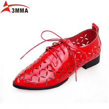 3MMA Spring Summer Women Lace Up Derby Shoes Women Pointed Toe Patent Leather Casual Shoes Hollow Flats Ladies Shoes Size 34-43