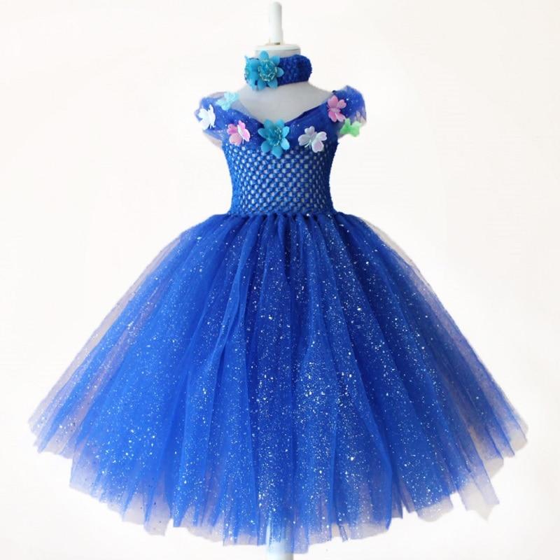 Cosplay Ciderella Royal Blue Petti Tutu Dresses Baby Girls