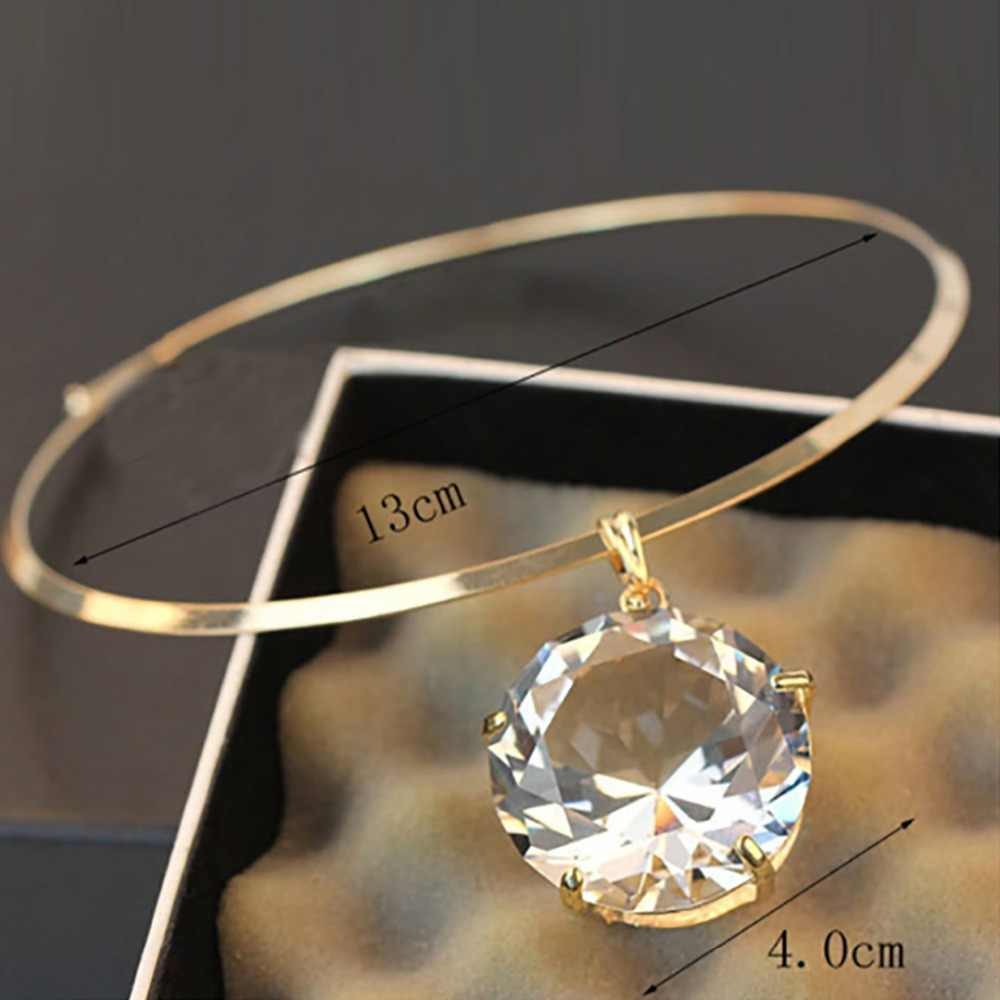 d8492b8053 Sainio Blade Chain Choker Necklace Rhinestone Huge Large Big Crystal  Pendant Choker Necklaces Fashion Jewelry Accessories