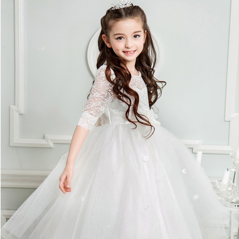 Berngi Half Sleeve Flower Girls Dress Kids Solid Color Princess Party Dress Teenager Graduation Prom Lace Dress 5-14 Clothing