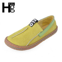 HEE grande Plus Size 36-42 Mulheres Padrão Lady Flats Mocassins Sapatos Dedo Do Pé Redondo Ocasional Ampla Rasa Slip-em Sapatos XWD4629