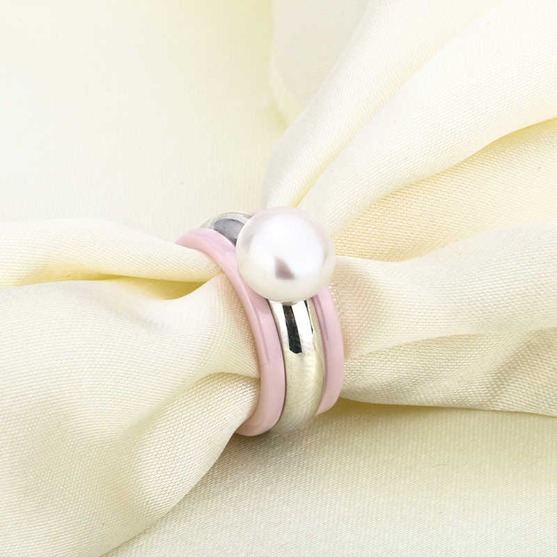 New 3pcs/Set Elegant Imitation Big Pearl Ring Pink Ceramic Stainless Steel Fashion Style Gift For Women Finger Ring Jewelry Gift