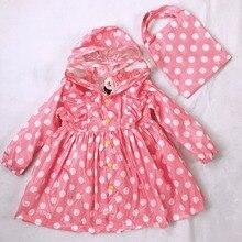 90-130cm yellow/pink polka dots child princess raincoat rainwear for children kid girls baby rain coat poncho  waterproof trench