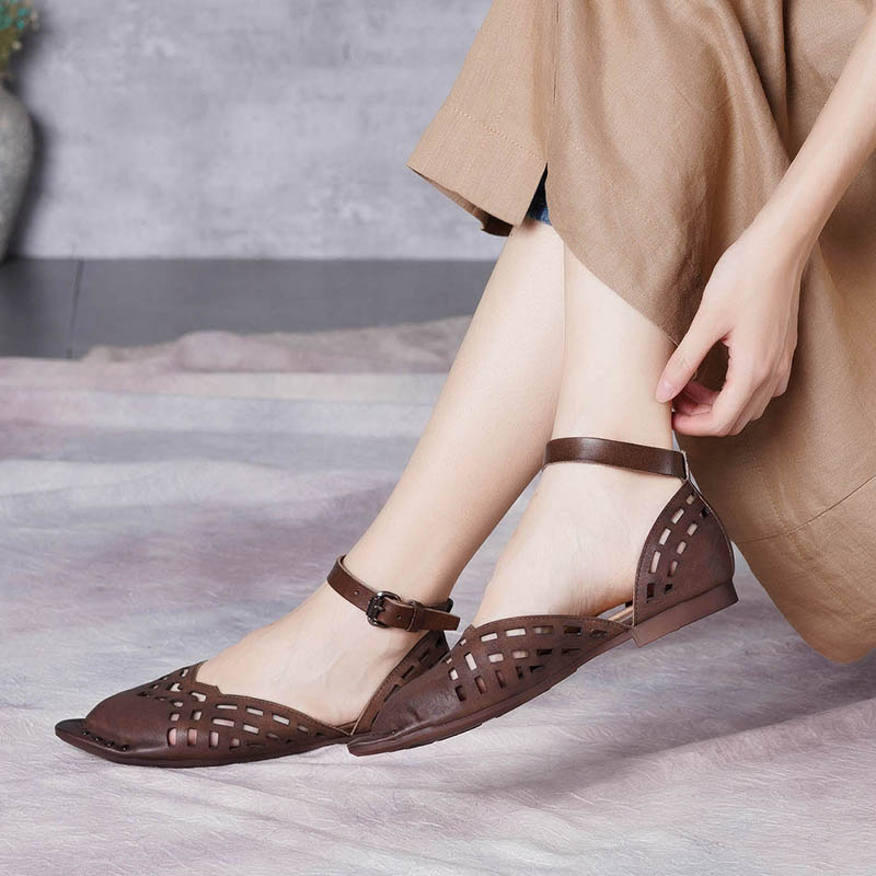 JELLYFOND Summer Shoes Women Sandals Genuine Leather Ankle Strap Womens Flat Sandals Vintage Pointed Toe Ladies Handmade ShoesJELLYFOND Summer Shoes Women Sandals Genuine Leather Ankle Strap Womens Flat Sandals Vintage Pointed Toe Ladies Handmade Shoes