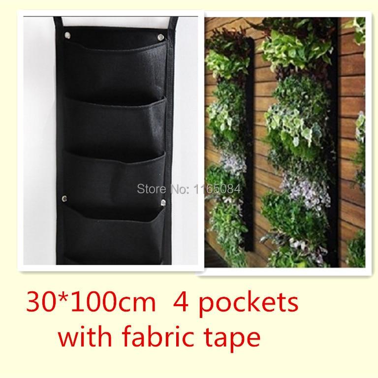 νέος! 4 τσέπες Κατακόρυφος κήπος φυτευτής τοίχου Πολυεστέρας Σπίτι Κηπουρική Λουλούδια τσάντες φύτευση Wall Planter με ύφασμα ταινία