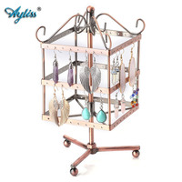 Ayiss Vintage 96 Holes Three Layer Earring Holder Hanger Square Jewelry Rotating Rack Earring Stand Organizer