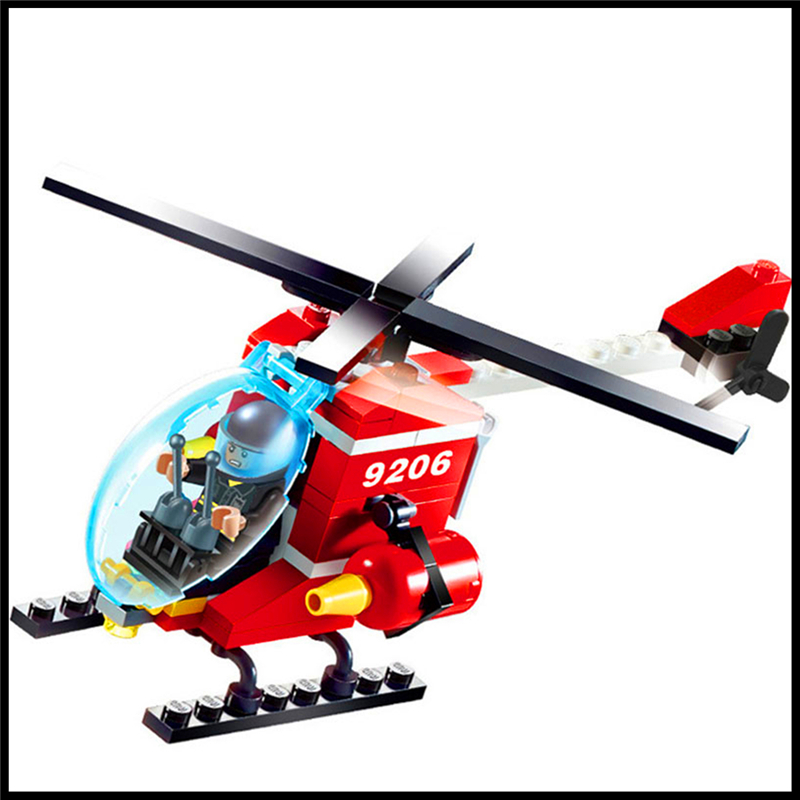 91Pcs Building Block Toys Fire Rescue Helicopter Model GUDI 9206 Figure Brinquedos Gift For Children Compatible Legoe decool 3355 technic city series rescue helicopter building block 407pcs diy educational toys for children compatible legoe