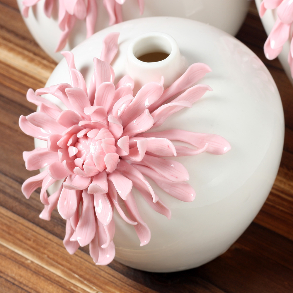 Handmade Pinch Hot Pink Vase Modern Embossed Ceramic Flower Vase