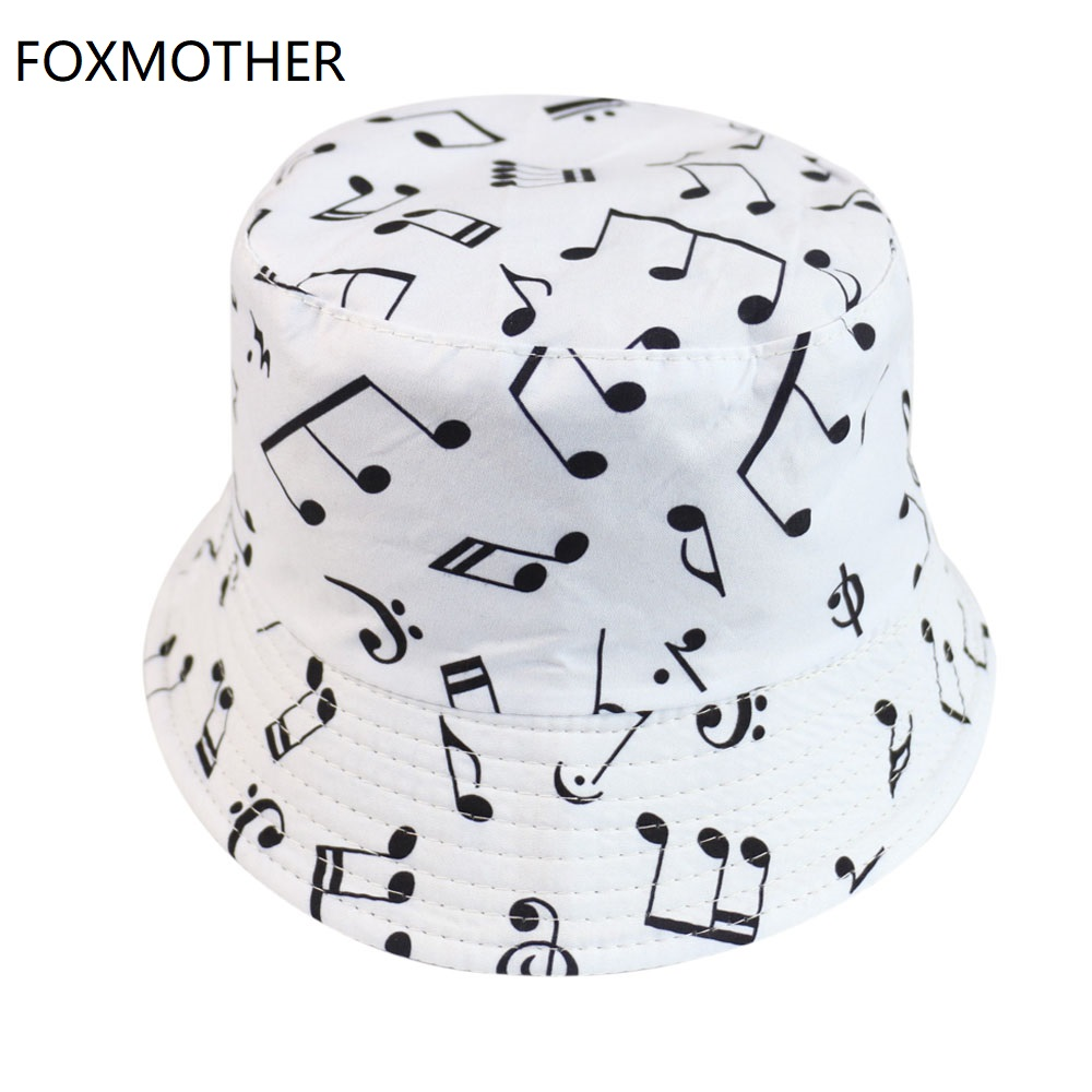 FOXMOTHER New White Music Note Bucket Hats Sun Caps Man Womens Lover