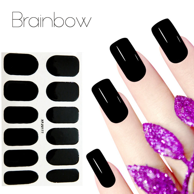 Brainbow Water Transfer Foil Nail Polish Sticker Solid Color Quick ...
