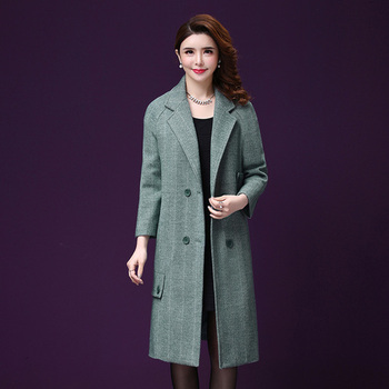 Autumn Women Wool Coat The  New Style Winter Double-breasted And Long Sleeve Designs Pink Female Temperament Fashion Clothes