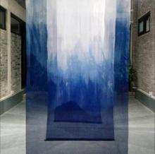 140CM Blue Sericulture wood dyed silk chiffon fabric curtains Handmade plant gradient mountain Exhibition A340