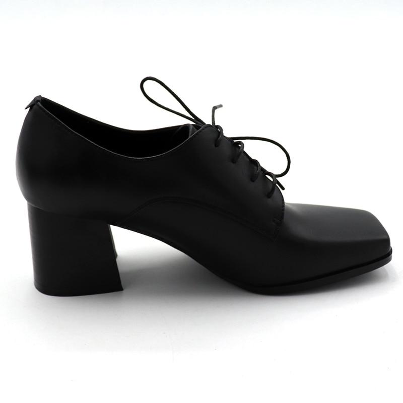 ENMAYER/весенние туфли на высоком каблуке Женская повседневная обувь на квадратном каблуке и платформе с квадратным носком однотонные женские туфли на шнуровке для свиданий - 3