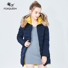 Foxqueen 2016 New Winter Thick Women's Fashion Outwear Hooded Coat Women Winter Jacke Solid Color High Quality Free Shipping