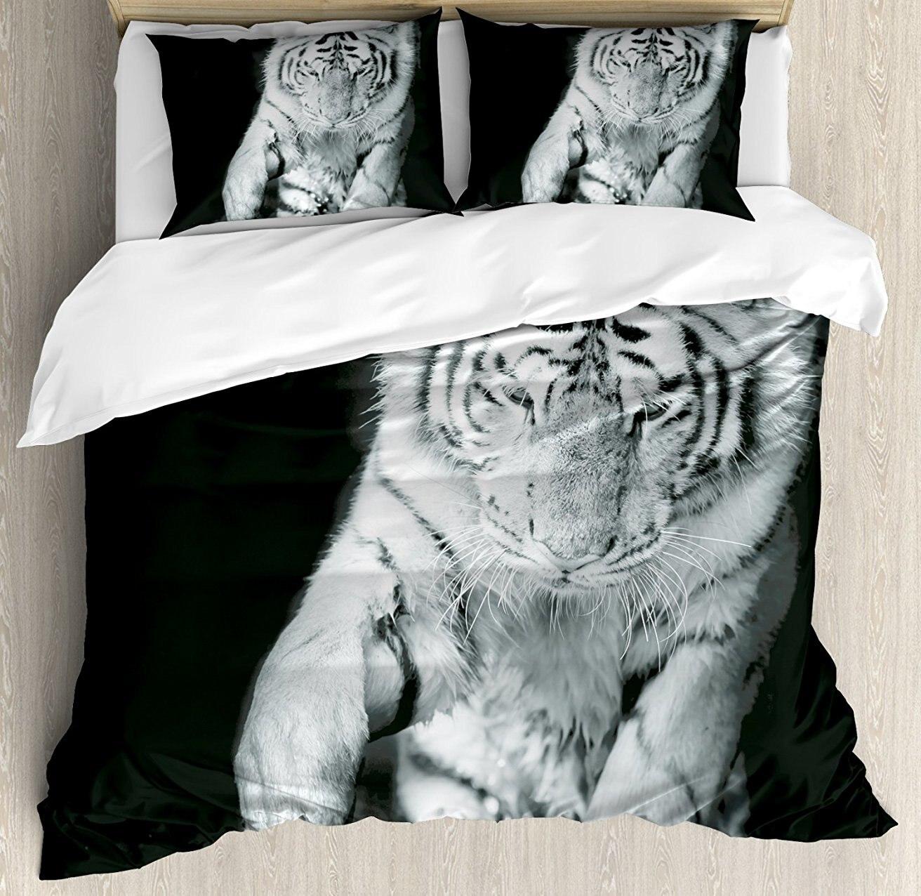 Tigre housse de couette ensemble noir et blanc Image de grand chat jouer avec l'eau Cool animaux Fun Hunter 4 pièces ensemble de literie