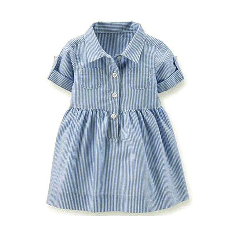 Dress Girls Fashion Kids Summer Girl Turn-Down Pocket Striped for Clothing Shirt Blue
