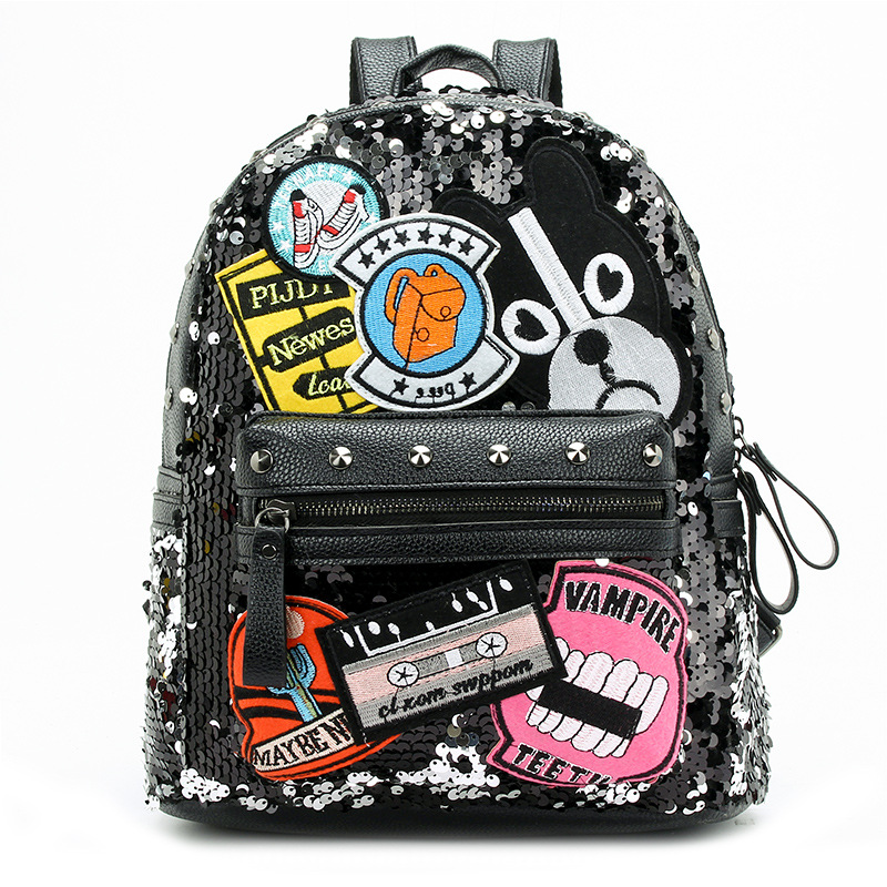 CHARA`S Shoulder Bag Sequin Stitching Backpack Off White Female Anti Theft  2019 Spring New