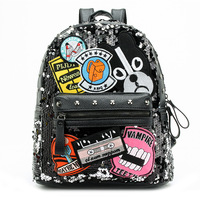 CHARA`S Shoulder Bag Sequin Stitching Backpack Off White Bag Backpack Female Anti Theft Backpack 2019 Spring New