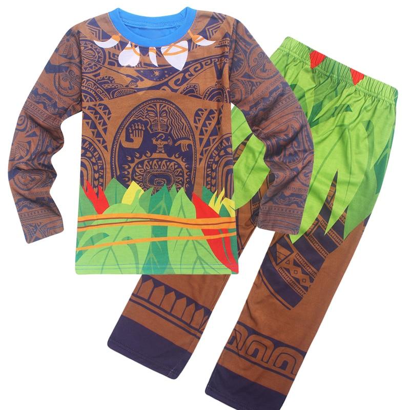 2Pcs Baby Boys Girls Moana Maui Cosplay T-shirts Short Sleeved Summer Children's Cartoon T Shirt Moana Top Tees + Pants