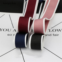 Kewgarden 25mm 1 38mm 1.5 DIY Bowknot Denim Satin Ribbon White Edge Polyester Ribbons Handmade Tape Accessories 10 Yards