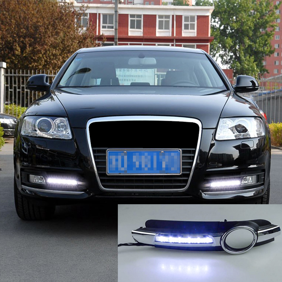 roadot 2pcs led daytime running lights for audi a6 c6 2005 2006 2007 2008 car drl lamp with fog light hole 12v auto accessories [ 950 x 950 Pixel ]