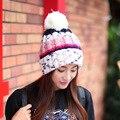 Elegante Sombrero de Las Mujeres de Invierno y Otoño Hicieron Punto los Sombreros Gorros Para mujer de Piel de Conejo Casquillo Del Otoño Y El Invierno de Las Señoras de Moda Femenina Skullies