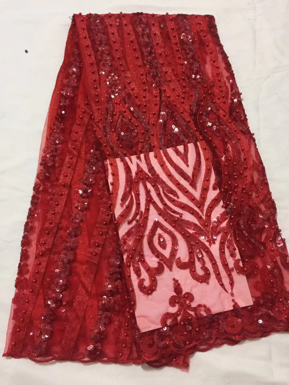 NEW RED African Tulle Lace Fabric High Quality Nigerian French Mesh With Sequins And Beads Lace