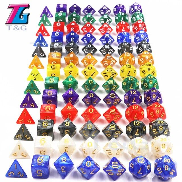 7PCS/set T&g Polyhedron  Dados  D&D Dice with Marbled Effect,Transparent  D4 D6 D8 D10 D10% D12 D20 Playing Dice