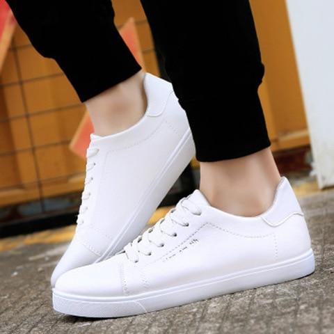 Men shoes new arrival sneakers men running shoes white pu comfortable breathable massage lace up men sports shoes male shoes Karachi