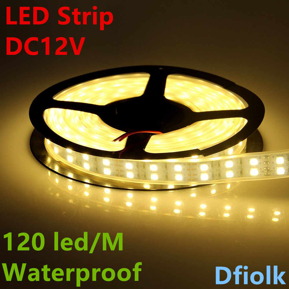 Lampu LED Strip 5050 Silikon Tabung Tali Pita Tahan Air IP67 Double Row 600led 5 M DC 12 V 3000 K 6500 K Putih Hangat Putih Pita RGB